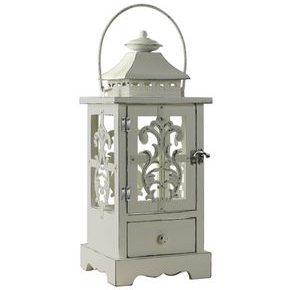 Lanterne blanche en bois Shabby